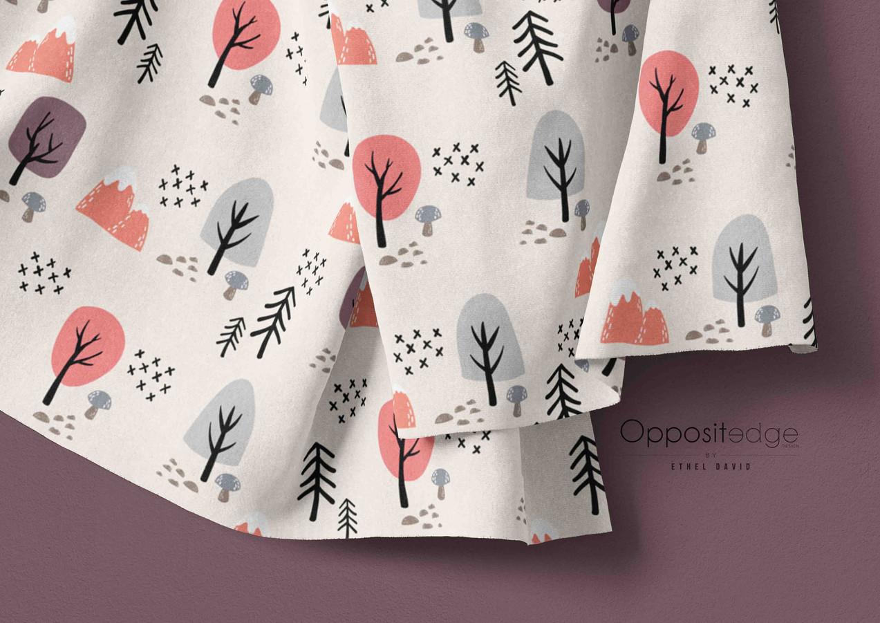 Woodland Animals Trees Beige - Girls-01.