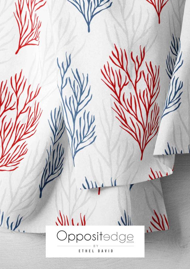 Red & Blue Seashells & Seaweeds V.02 01.