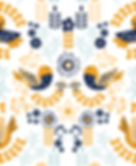 Scandinavian Floral Birds - Yellow Blue.