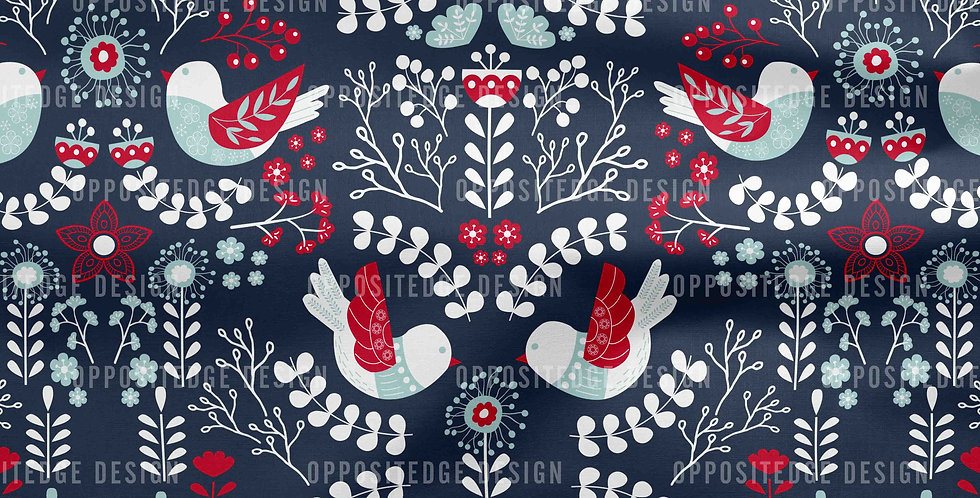 Scandinavian Floral Birds Teal Red - Commercial Use