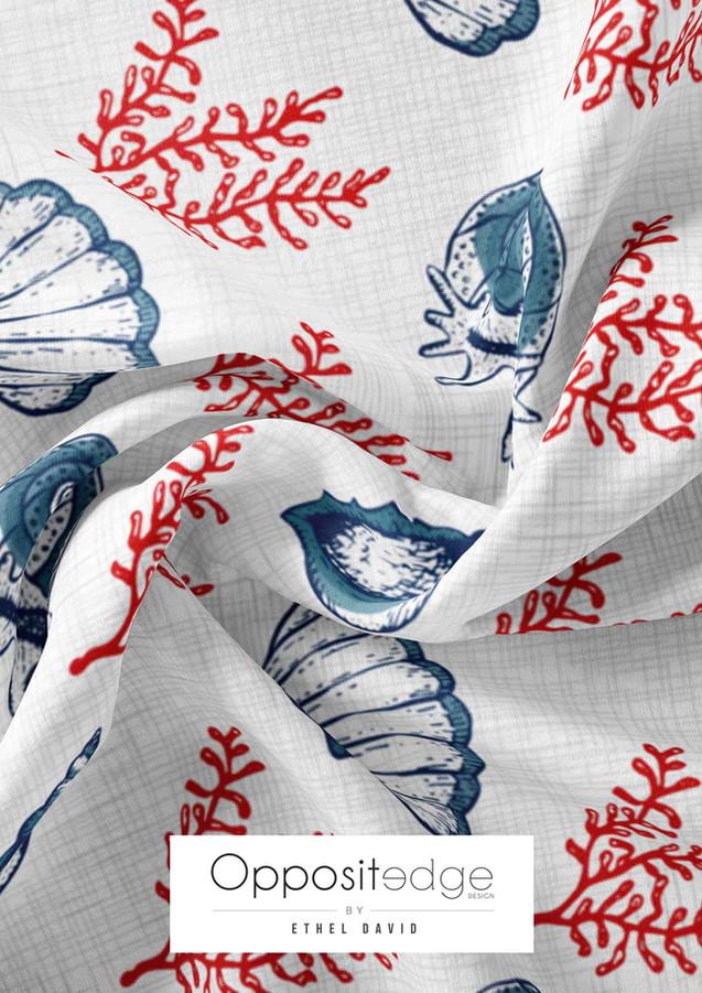 Red & Blue Seashells & Seaweeds Textured