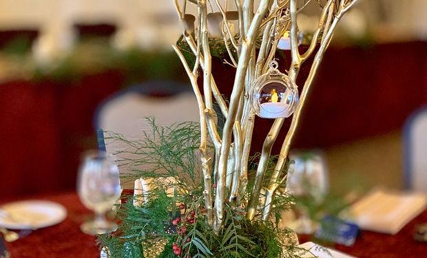Gold Branch Centerpiece with hanging glo