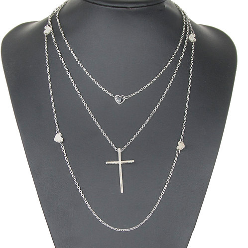 Three Layer Alloy Love Cross Necklace