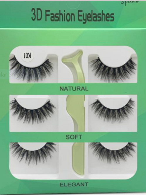 3 Pairs of 3D Fashion Eyelashes with Tool