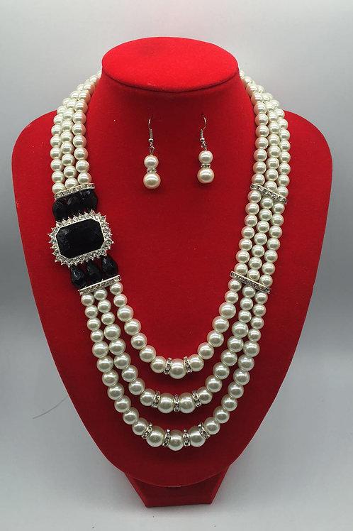 Rhinestone Peal Jewelry Set