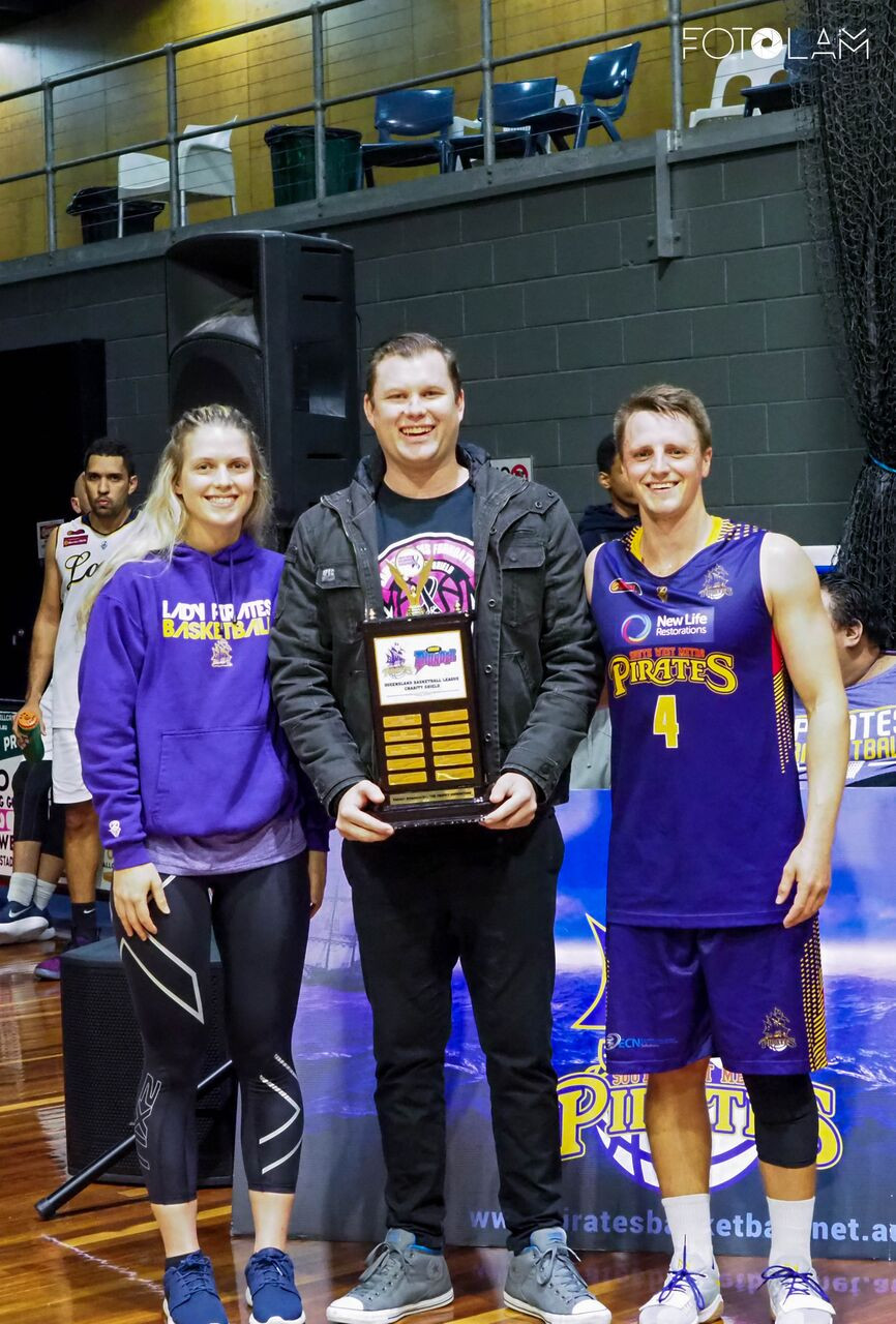 L-R, Women's captain Maddy Willey, Ashley Dionysius (KAF), Men's captain Ryan Vines. Karlee Adams Foundation annual shields winners for 2018