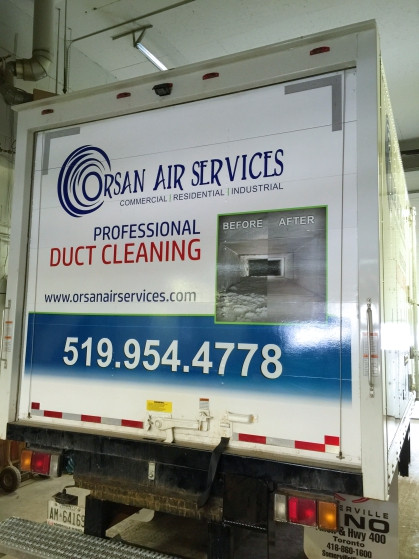 "Back of Orsan Air Services new ""ductsucker"" truck, graphics designed, printed and installed by The Graphics Guy"
