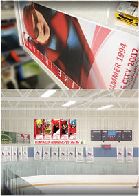 the graphics guy - custom designed banners for Cambridge, Canadian speed skating olympians at Hespeler Arena