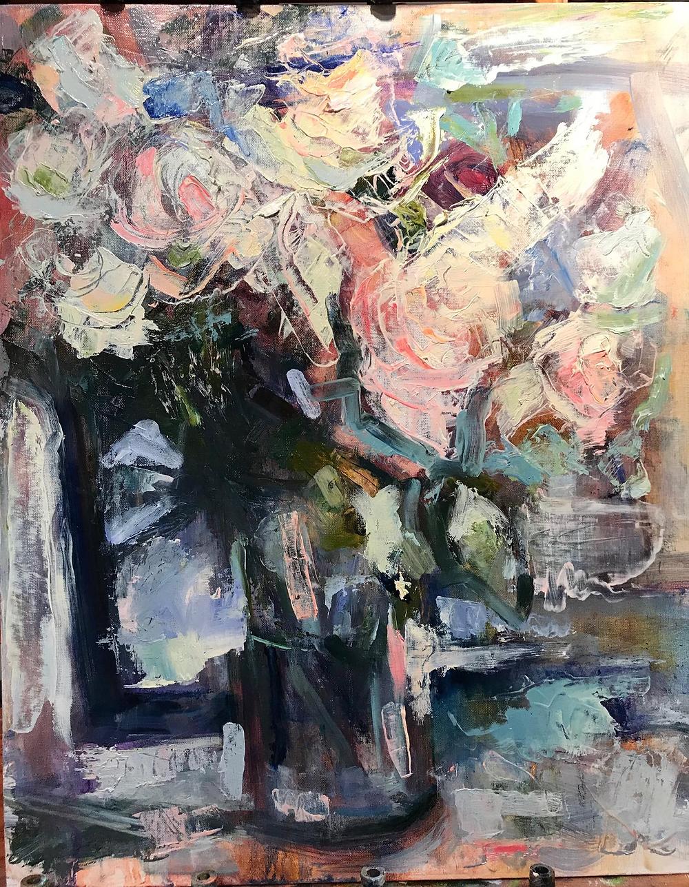 White Roses, 18X24 Oil, $650