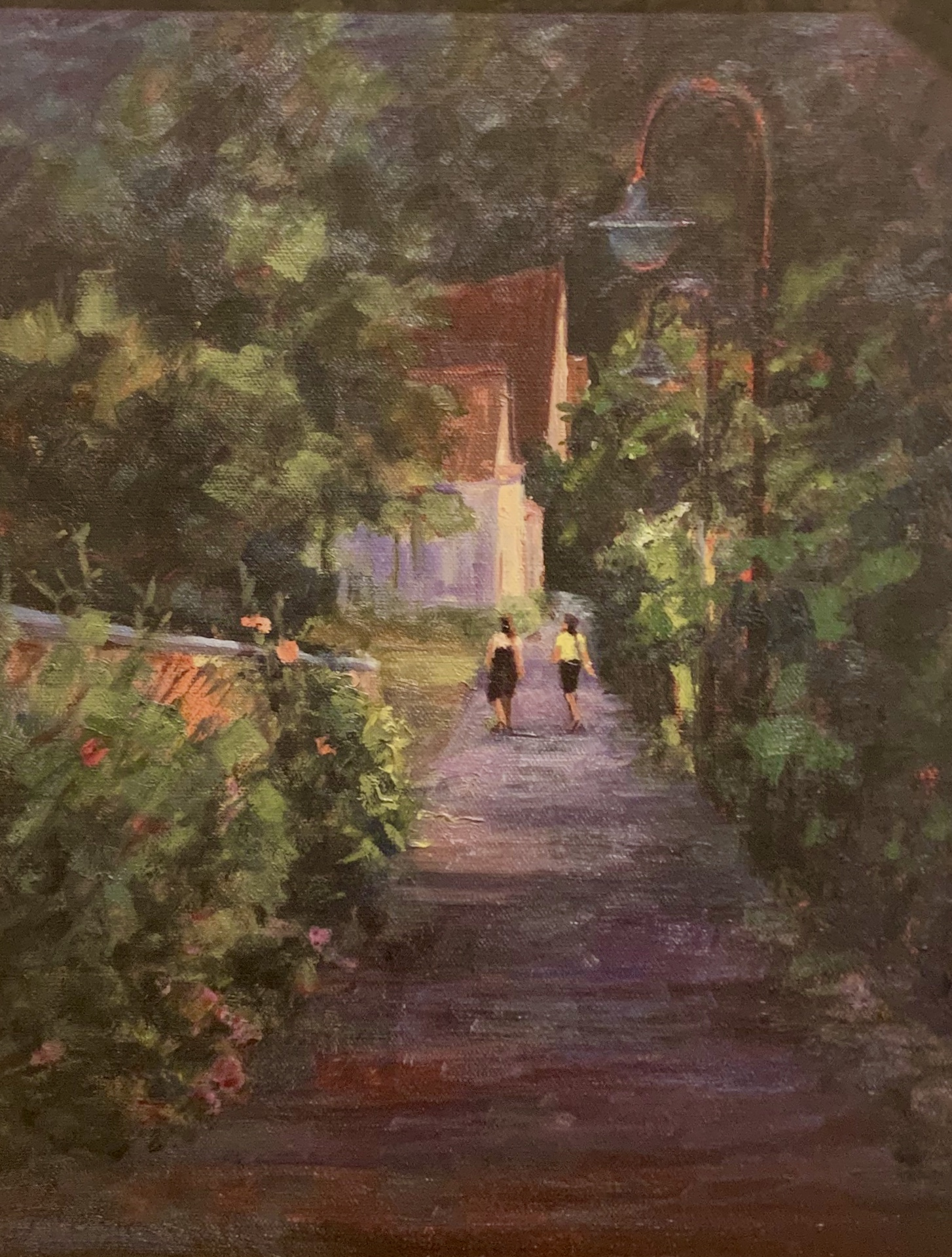 """Walking in Giverny 11""""x14"""" oil"""
