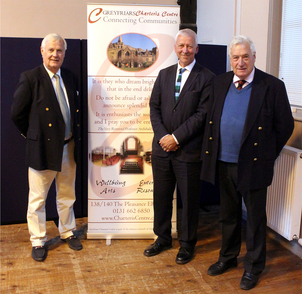 Brothers Andrew Charteris (left) and Lt-Col John A. Charteris MBE MC (right), great great nephews of the Very Reverend Professor Archibald H. Charteris with Reverend Dr Richard Frazer (Minister of Greyfriars Kirk).