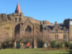 Charteris Centre, a venue to hire in Edinburgh, with the Crags in the background