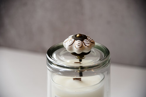 Gold + white flower cloche + candle set
