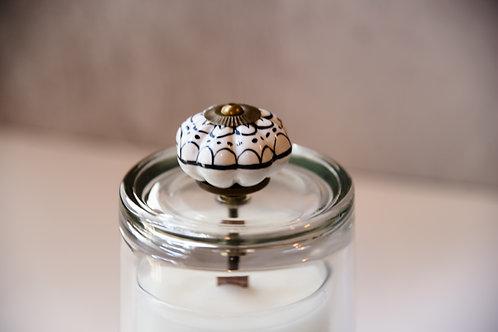 Black + white motif cloche + candle set
