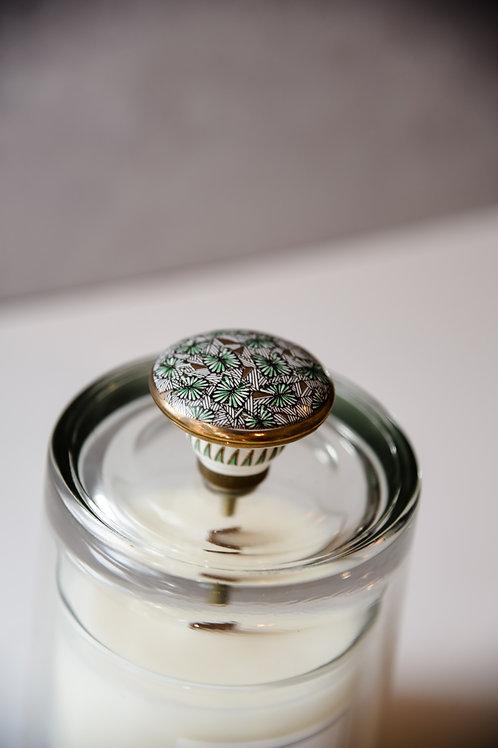 Green print knob cloche + candle set