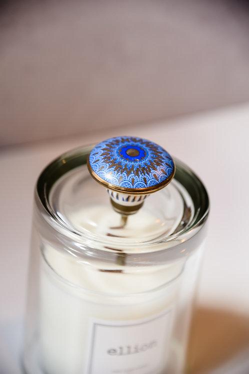 Blue print knob cloche + candle set