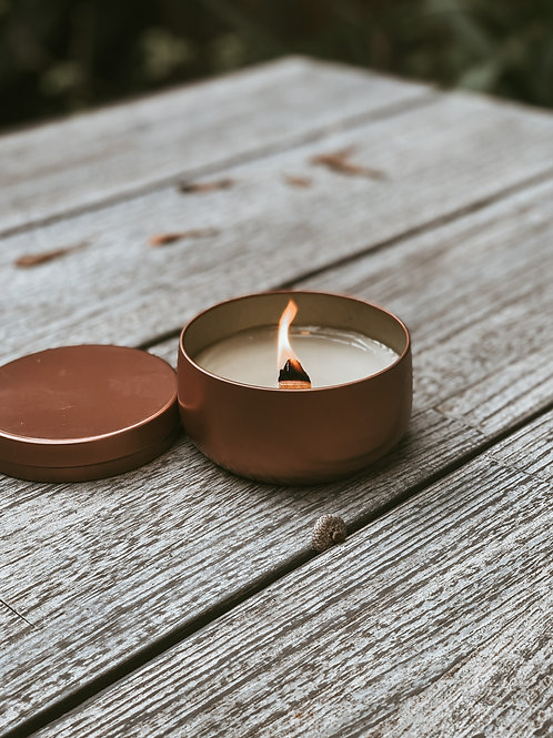 rose gold tin wood wick candle