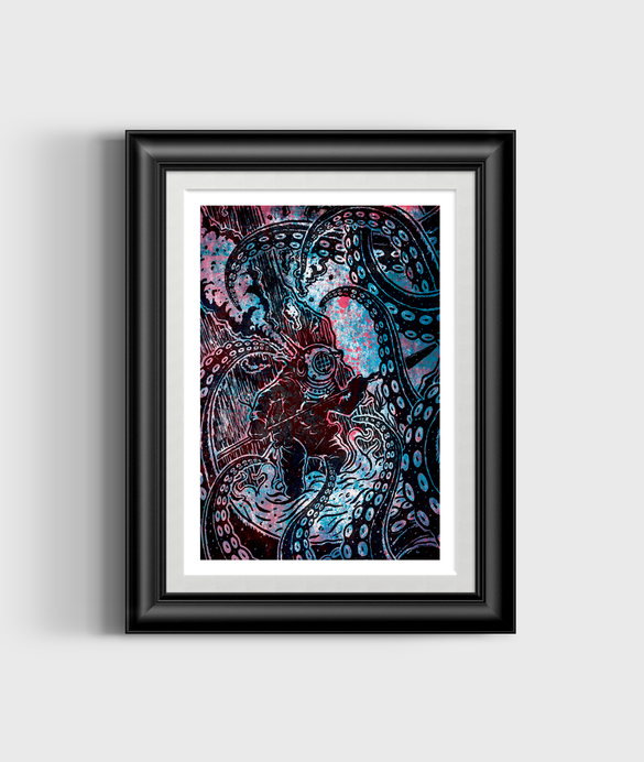 Diver Vs Octopus Framed