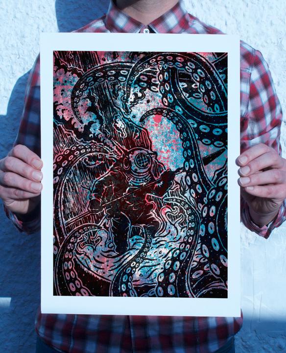 Diver Vs Octopus Print