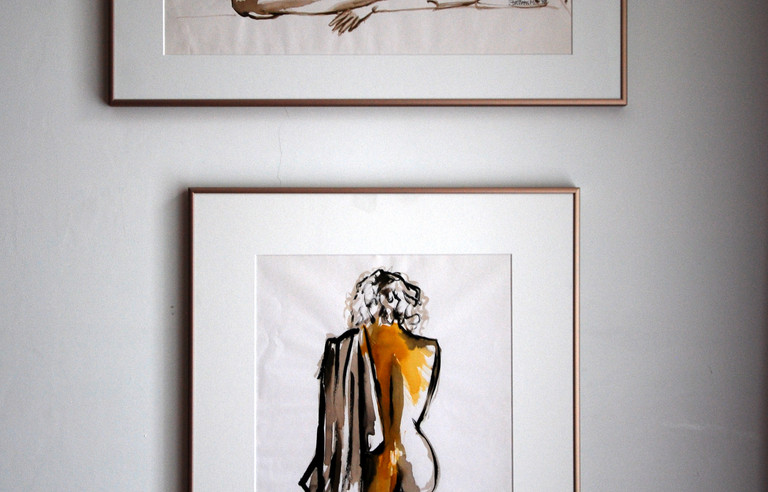 Two Female nudes, framed