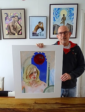 Bastiaan with portrait of Jeroen