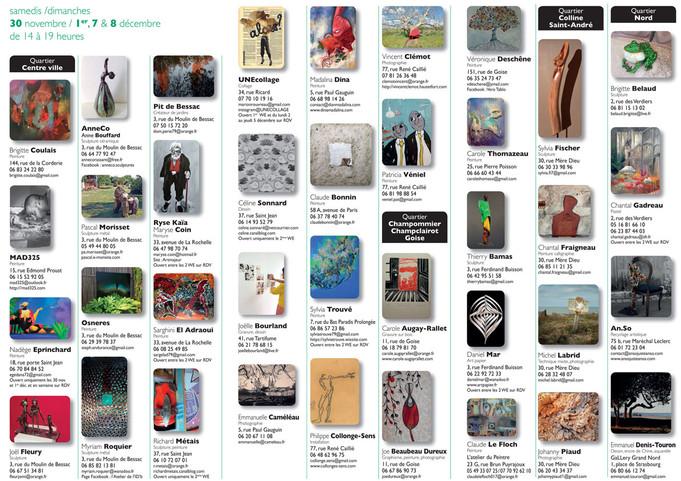 Deux Weekend pour découvrir les artistes de Niort : 30/11 et 1  et 7 et 8 décembre