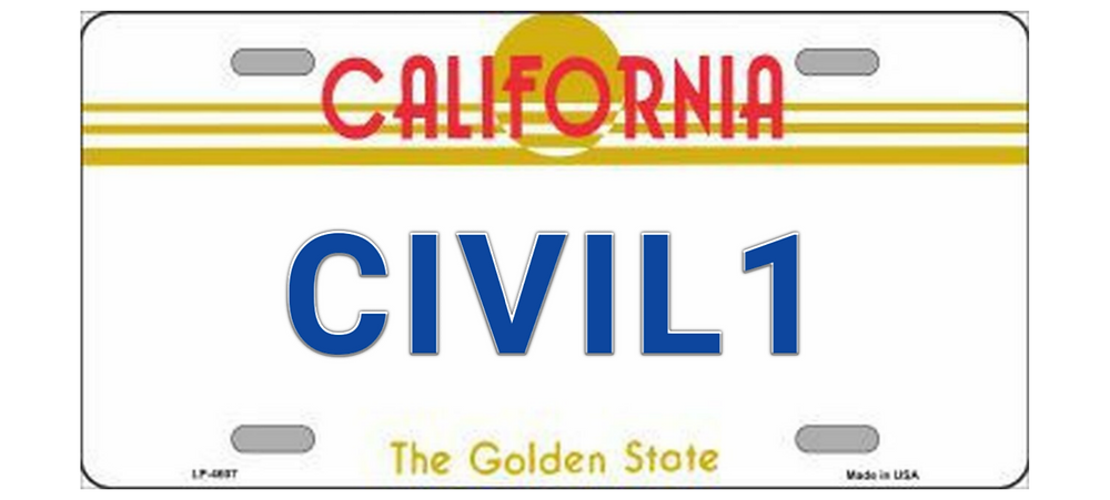 civil 1 license plate