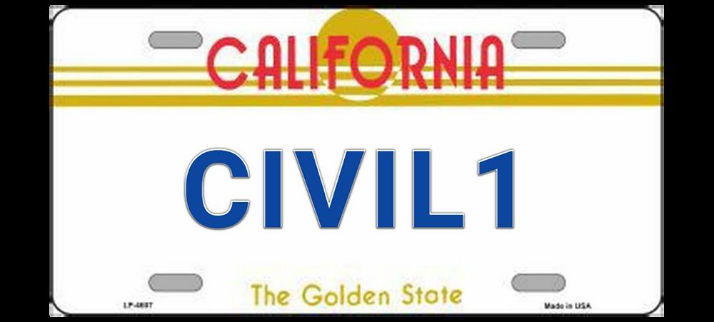 civil 1 license plate