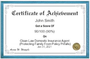 Certificate of Achievement Domestic Insurance Agent