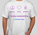 peace love grapes clean law family sustainability t-shirt
