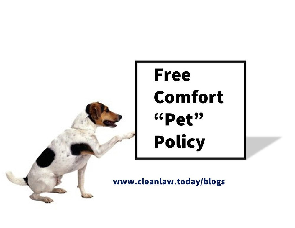 """Free comfort """"pet"""" policy"""