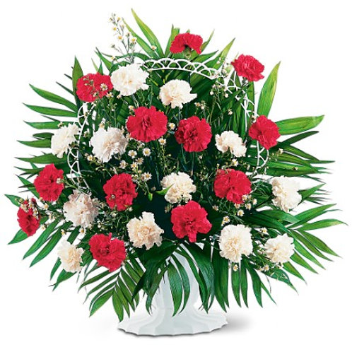 Red & White Carnation Floor Basket