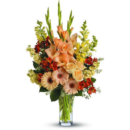 Mixed Orange Vased Arrangement