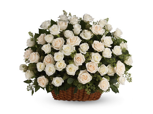 Wicker Basket of White Roses