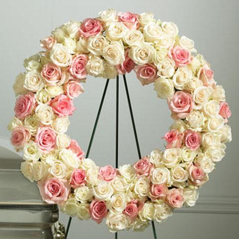 White & Pink Rose Wreath