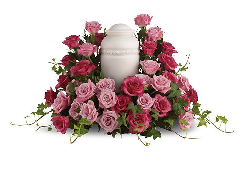 Mixed Pink Rose Urn Tribute