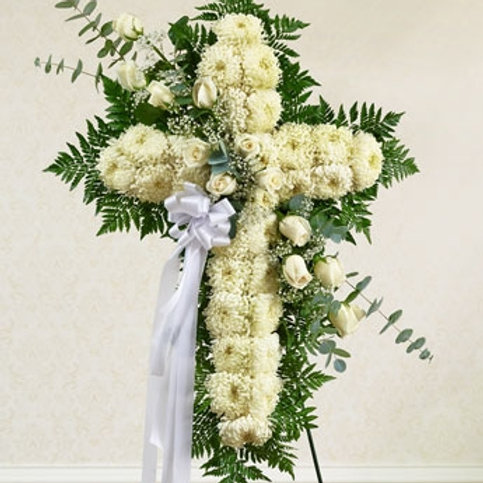 White Cross with White Roses