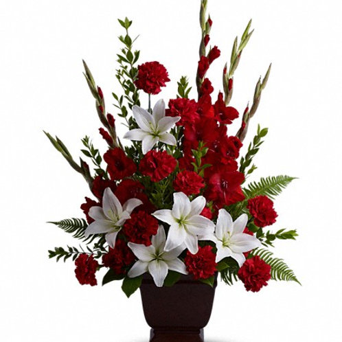 Mixed Red & White Floor Basket