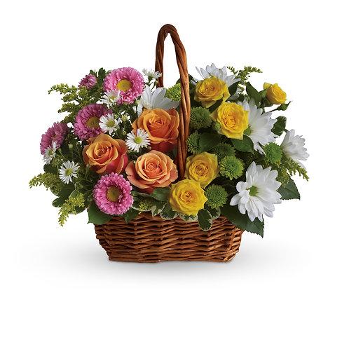 Mixed Garden Basket Arrangement