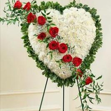 White Heart with Red Roses