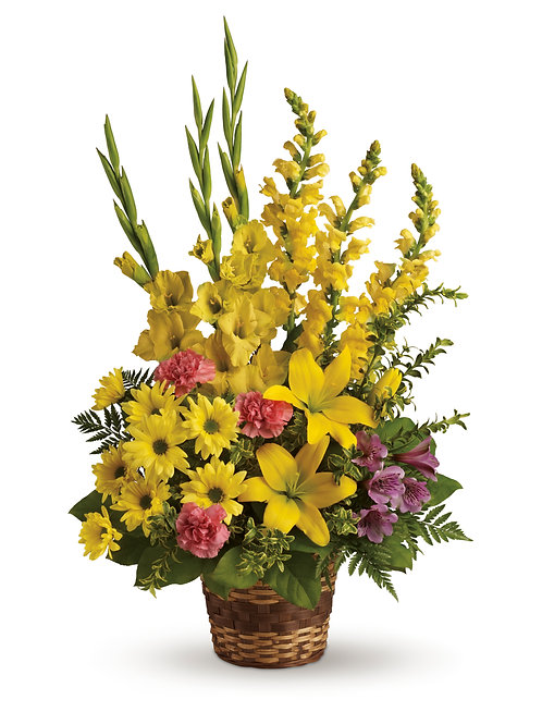 Mixed Yellow Basket Arrangement