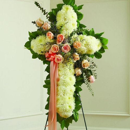 White Cross with Peach Roses