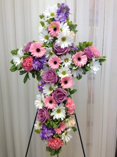 Mixed Flower Sympathy Cross