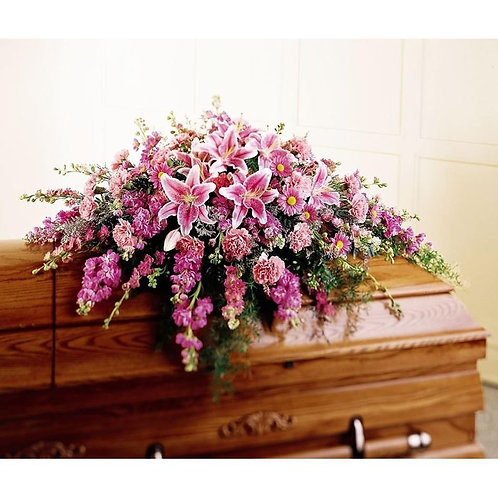 Mixed Pinks and Stargazers Casket Spray