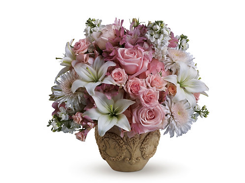 Pink & White Vased Arrangement
