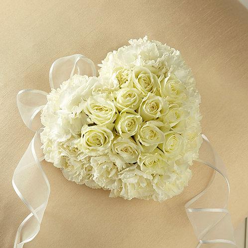 White Rose Casket Heart