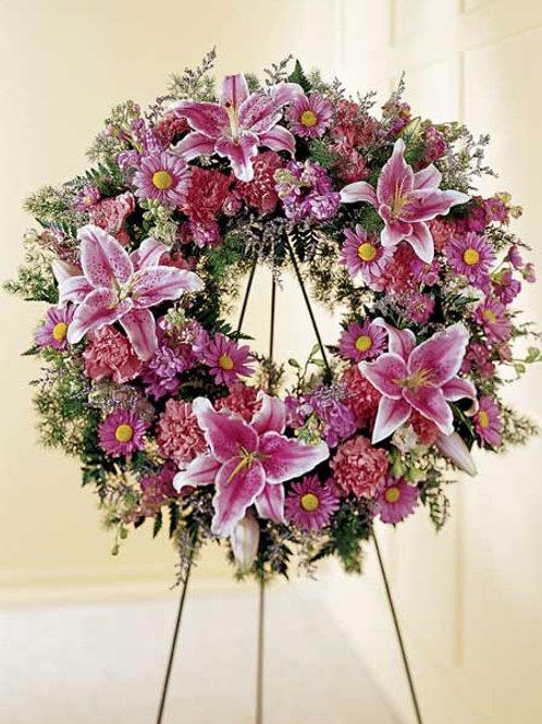Mixed Pink Stargazer Wreath