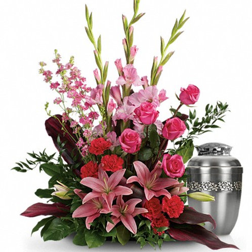 Mixed Pinks Urn Tribute