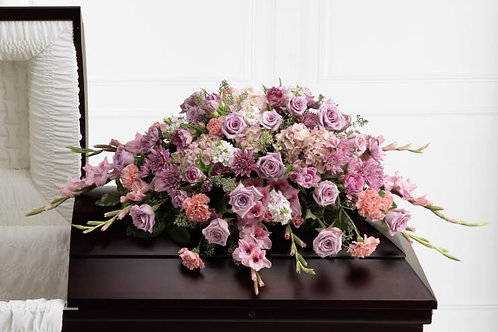 Mixed Pink & Purple Casket Spray