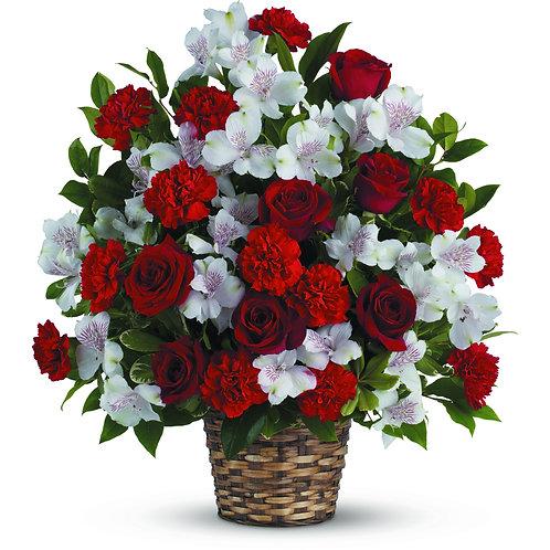 Red & White Basket Arrangement
